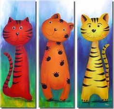 China Cartoon Cat Group Oil Painting - large image for Cat Canvas Group Painting