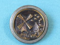 Button Victorian Metal Picture Button Windmill In Landscape