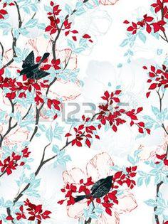 motif fleur: Seamless avec des arbres, des fleurs et des oiseaux. Papier peint vintage. Vector illustration.
