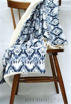 Blue Ikat Throw Blanket. $70.00, via Etsy.