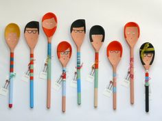 Hand painted People Decorative Wooden spoons