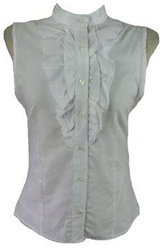 White cotton ruffle pirate sleeveless high neck blouse-12 victorian steampunk style. Kimo http://www.amazon.co.uk/dp/B00UC52CUE/ref=cm_sw_r_pi_dp_7hjevb1NQW9X3