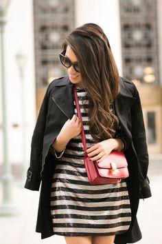 Holiday Stripes :: Silk taffeta skirt & Flare trench