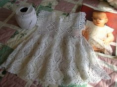 Pineapple Crochet Christening Gown | White Lacy Crocheted Baby Girl Dress by everythingswhite on Etsy
