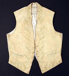Waistcoat  Date: early 19th century Culture: American or European Medium: silk, cotton