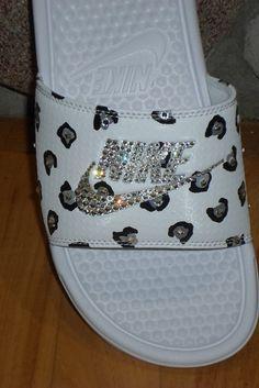 Just IN Nike Benassi slides White Silver by Blingitonyouboutique