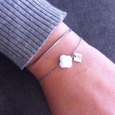 Bracelet jonc plume + bracelet nacre Zag Bijoux