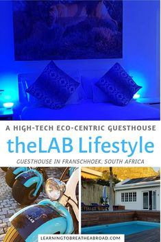 theLAB Lifestyle Franschhoek Guesthouse combines modern high-tech facilites with its eco-centric green ethos in the heart of Franschhoek, South Africa. Africa Destinations, Top Travel Destinations, Travel With Kids, Family Travel, Virtual Reality Games, Honeymoon Spots, Carbon Footprint, Africa Travel, South Africa