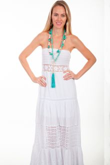 a5a46b6b4ae This Womens Peruvian Cotton Full Length White Tube Dress features a lace  inset at the waist and smocked top. It has multi panels with crochet panels  in the ...
