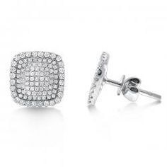 $1,830.00Diamond Large Square Shaped Earrings in 14K White Gold with 202 Diamonds weighing .85ct tw.- KC Designs