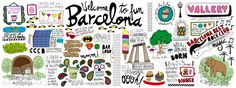 Welcome to Fun Barcelona, Spain by Rena Ortega - They Draw & Travel Barcelona Tourist Map, Barcelona Spain, Travel Maps, Travel Posters, Kelleys Island, Journaling, Travel Drawing, Travel Illustration, City Maps