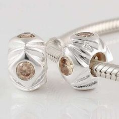 1pc 925 Sterling Silver Charms Champagne Crystal Beads Compatible with Pandora Chamilia Kay Troll European Bracelets