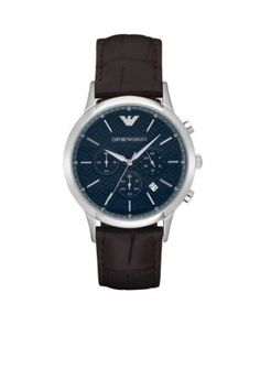0cd1de8d909 Emporio Armani Men s Men s Renato Automatic Brown Leather Watch - Brown -  One Size Armani Green
