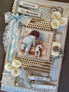 min lille scrappe-verden: Dåpskort til gutt Scrapbook Journal, Baby Scrapbook, Scrapbook Cards, Card Tags, I Card, Baby Mini Album, Diy And Crafts, Paper Crafts, New Baby Cards