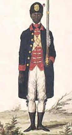 Painting of an Afro-Puerto Rican soldier wearing the uniform of the Free Black Militia of Puerto Rico of 1785.     Painting by José Campeche, the first known visual artist painter of Puerto Rico.     http://www.puertoricanpainter.com/Campeche.htm