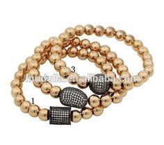 B15111722 Fashion Jewelry Gold Filled Bead Micro Pave Zircon Charm Stretch Bracelet
