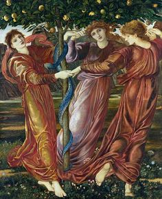 Garden Of The Hesperides By Sir Edward Burne Jones The Three Hesperides and the Dragon guarded the Golden Apples of Immortality.