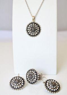 art deco jewelry set clear crystal rhinestone tibetan by sestras