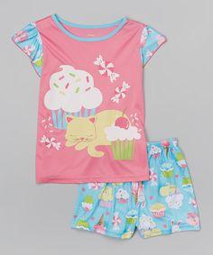 Loving this Pink Cupcake Cat Pajama Set 4-14- Girls on #zulily! #zulilyfinds