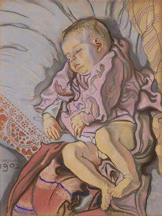 Stanisław Wyspiański, Śpiące dziecko w poduszce (Śpiący Staś)  |  1902 pastel, papier, 62,5 × 47,5 cm, Muzeum Narodowe w Warszawie