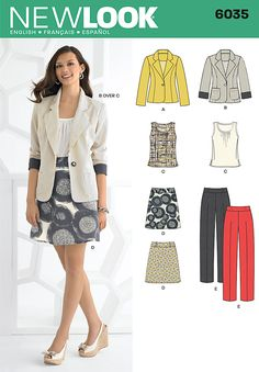 6035 Misses' Separates Misses' top, skirt, pants and jacket. New Look sewing pattern.