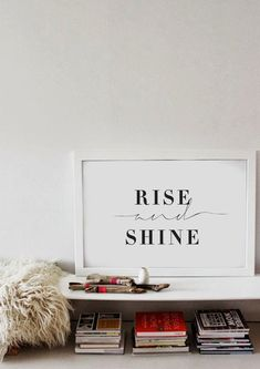 Rise And Shine - Bedroom Wall Art - Black & White Typography Poster - Love…