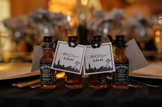 Whiskey favors for a Frank Sinatra themed birthday party {Photo by JargaPix Photography}