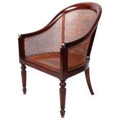 20th Century Regency Style Mahogany Caned Tub Chair