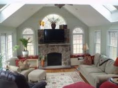 Living Room Addition   Like The Fire Place In Middle With Vaulted Ceilings  Family Room Addition