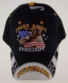 d0f09ff214b06 Thank A Vet For Your Freedom Veteran Military Baseball Cap - Embroidered  Kys Design Cap -