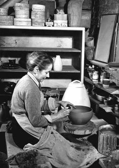 Portrait of a Potter ~ Lucie Rie in her studio at Albion Mews, photographer unknown, early 1950s