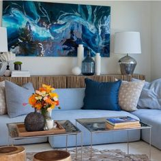 Jennifer Hawkins and Jake Walls lounge room. Styled by Darren Palmer. Australian Painting, Acrylic Artwork, Hanging Canvas, Contemporary Artwork, Interior And Exterior, Interior Ideas, Resin Art, Colorful Interiors, Art Boards