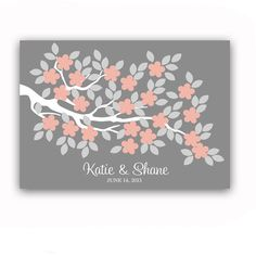 too girly.  Wedding Guest Book Poster Unique Alternative for 100 Guest Sign In Tree Print Wedding Guest Book in Peach and Gray.  $49.