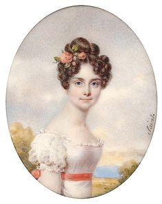 Daniel Saint Portrait of Colette de Reiset, Baronesse Beurnoville Miniature 1820s