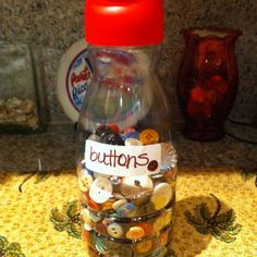 Coffee creamer bottle to keep buttons