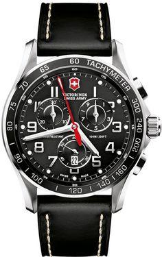 Victorinox Swiss Army Watch, Men's Chronograph Classic XLS Black Leather Strap 241444