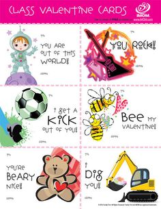 iMOM has the sweetest Class Valentine's Day printable cards! Print them out for your children to share on Valentine's Day.  They're perfect for handing out to their class at school or to anyone your child loves.