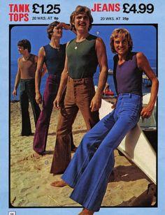 from ffwMag # Jeans 70s Fashion Men, 70s Vintage Fashion, Seventies Fashion, Best Mens Fashion, Punk Fashion, Vintage Men, Vintage Outfits, Retro Men, Fashion Black