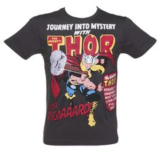 Men's Charcoal Thor Comic Cover Marvel T-Shirt