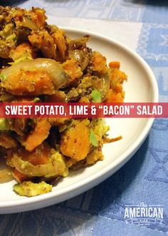 This paleo sweet potato bacon salad is a dinner on it's own or makes a great side dish for a bbq or pizza. With hints of lime and mustard, it's alive with flavor. Sweet Potato Dishes, Paleo Sweet Potato, Salad With Sweet Potato, Potato Salad, Kosher Recipes, Primal Recipes, Healthy Recipes, Kosher Food, Bacon Recipes