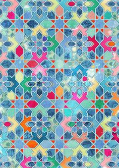 Pretty Pastel Moroccan Tile Mosaic Pattern by Micklyn