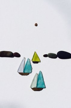Sharon nowlan pebble art of Nova Scotia with sea by PebbleArt, $120.00