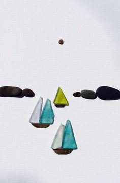 Sharon nowlan pebble art of Nova Scotia with sea glass                                                                                                                                                                                 More
