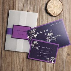 Dark Purple Alphabet Swirl Pocket Wedding Invite IWGY047