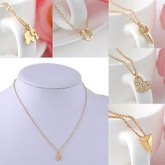 New Charms Elegant Jewelry Gold Plated Key Heart Infinity Pendant Necklace Gift