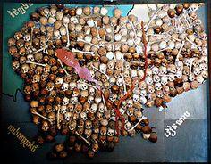 Mapa hecho con cráneos de las víctimas del régimen, exhibido en el Museo Tuol Sleng.