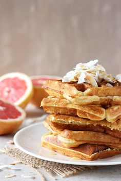 Recipe for grapefruit buttermilk waffles topped with toasted coconut. Simple, freezer-friendly and perfect for breakfast or brunch! Best Waffle Recipe, Waffle Recipes, Brunch Recipes, Breakfast Recipes, Buttermilk Waffles, Pancakes And Waffles, Grapefruit Recipes, Waffle Toppings, Waffle Cookies