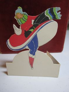 Art Deco 1920's die cut unused PF Volland bridge by puffadonna,