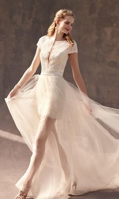 Bridal Separates | Wedding Skirts & Tops | BHLDN - short dress + removable skirt (one look for ceremony, one for reception?)