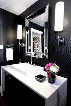 powder room: walls - do stencil; sconces - love desire to inspire - desiretoinspire.net - Atmosphere Interior Design